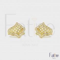 Boucles d'Oreilles Khmissa très chic en or 18 carats